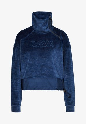 RAW DOT COLLAR ZIP - Fleecejas - kobalt htr