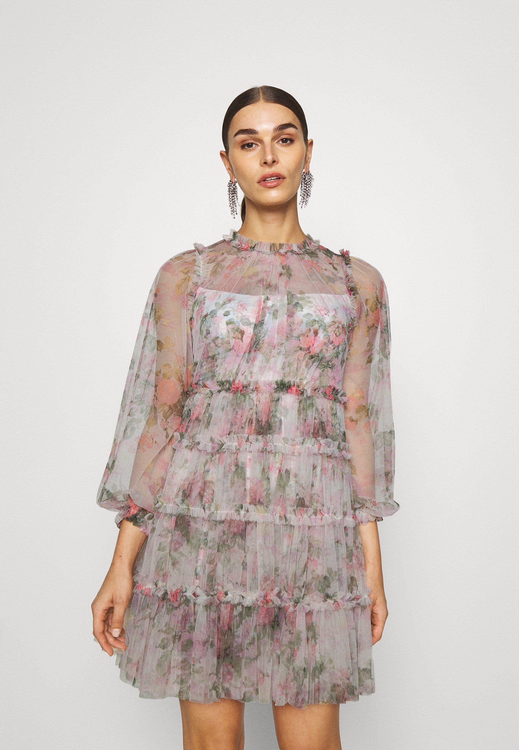 Women FLORAL SWAN MINI DRESS - Cocktail dress / Party dress