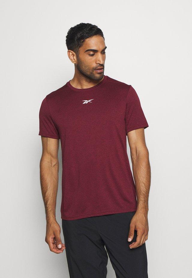 WOR MELANGE TEE - Camiseta estampada - maroon