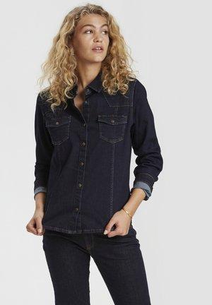 Button-down blouse - dark blue un-wash
