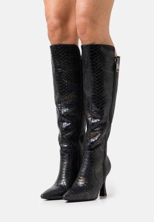 Kozačky na vysokém podpatku - arizona black