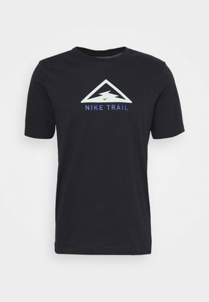 DRY TEE TRAIL - Print T-shirt - black/pistachio frost