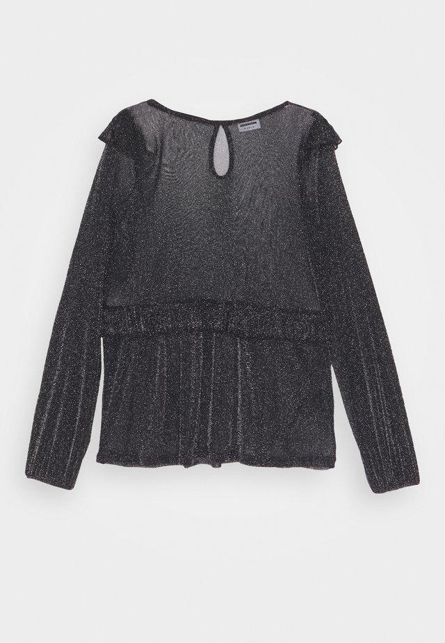 NMGLAM FRILL TOP - Bluzka - black/silver