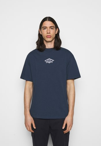 BOXY TEE FRONT - Print T-shirt - faded navy/white