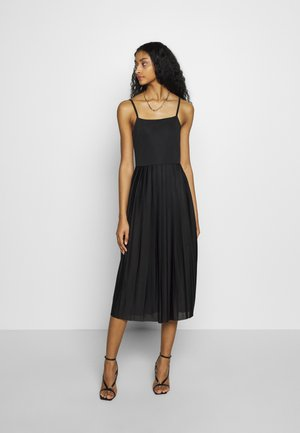 PLEATED STRAP DRESS - Day dress - black