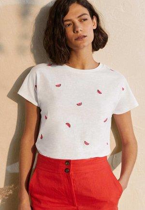Print T-shirt - weiß, gestickte wassermelonen