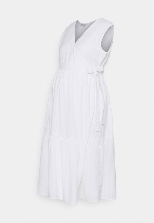 PCMTERETA WRAP DRESS MATERNITY - Korte jurk - bright white