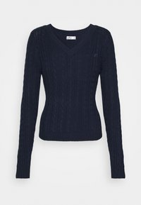 Hollister Co. - ICON CABLE V NECK - Jumper - navy - 4