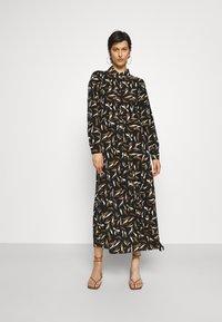 Object Tall - OBJLORENA LONG DRESS - Maxi dress - black/sepia/sandshell - 0