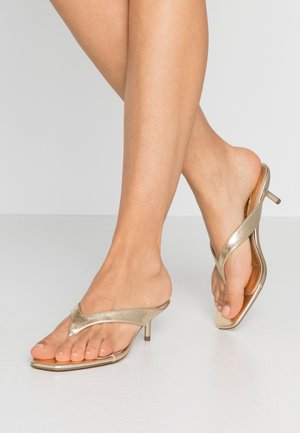 NINA MINI HEEL MULE - T-bar sandals - metallic
