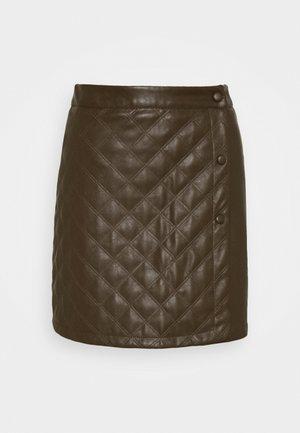 QUILTED WRAP OVER MINI SKIRT - Mini skirt - khaki
