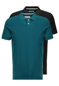 Pier One - 2 PACK - Poloshirt - petrol/black - 0