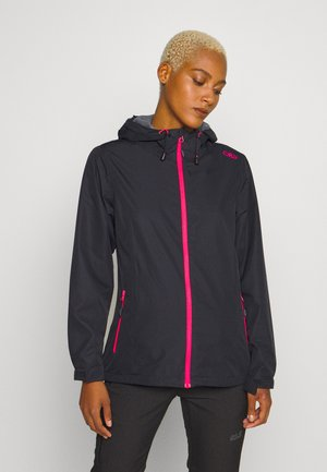 WOMAN RAIN JACKET FIX HOOD - Outdoorjakke - antracite/gloss