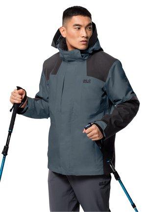 Winter coat - dark grey/light blue