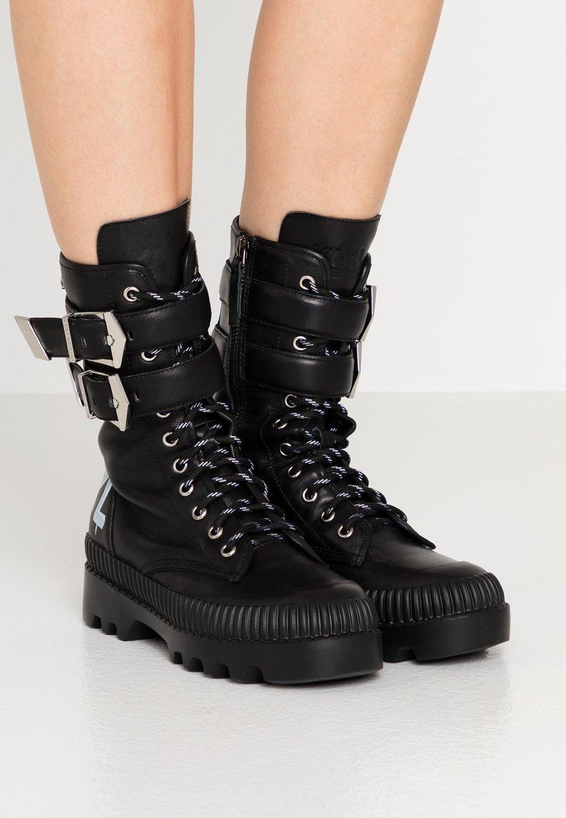 KARL LAGERFELD - TREKKA CUFF BUCKLE - Lace-up boots - black