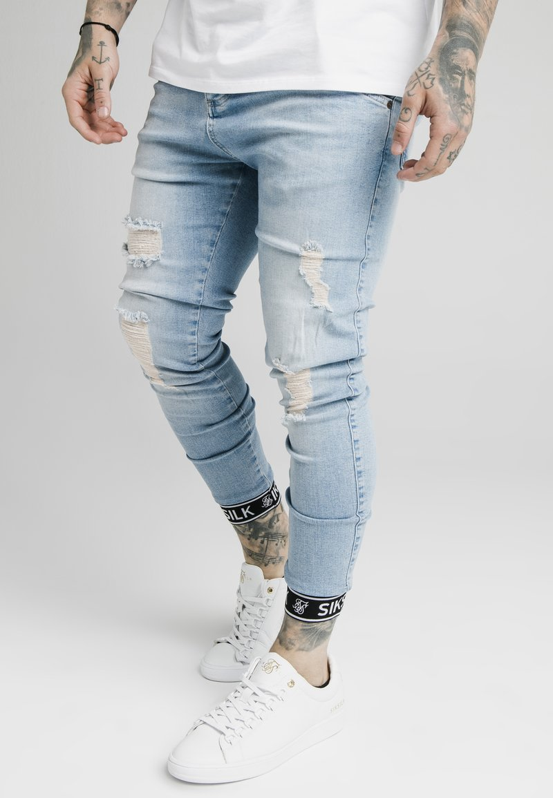 SIKSILK - SKINNY CUFFED JEANS - Jeans Skinny Fit - light blue