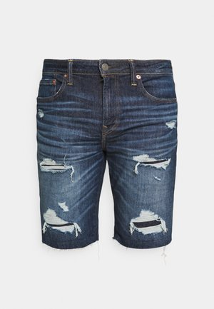 DARK DESTROY CUTOFF - Denim shorts - tidal blue