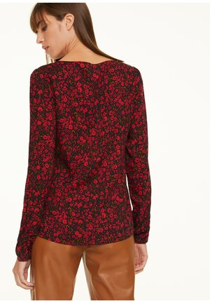 Blouse - red small roses
