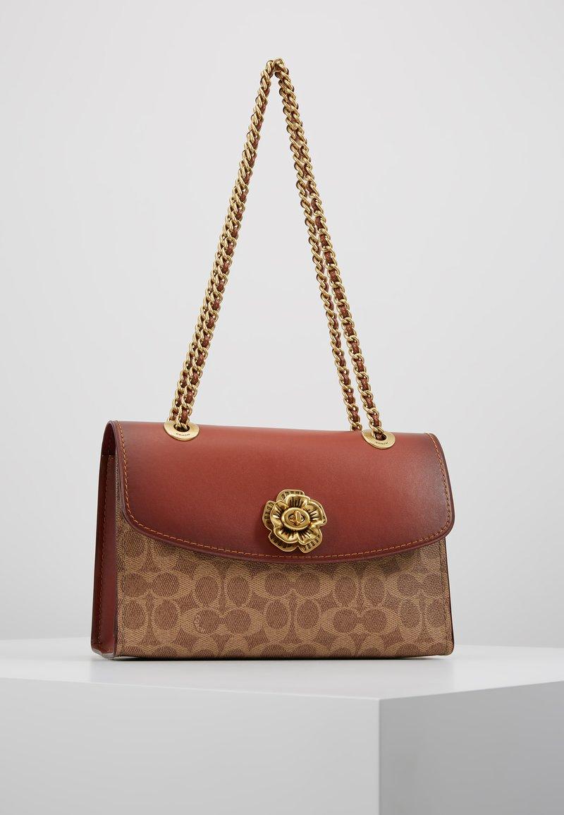 Coach - COLORBLOCK SIGNATURE PARKER SHOULDER - Handbag - rust