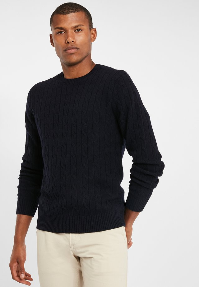 LAMBSWOOL CABLE CREWNECK SWEATER NAVY - Jumper - navy
