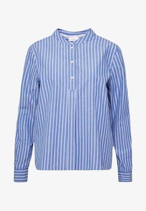 BLOUSE HALF BUTTON PLACKET LONGSLEEVE - Button-down blouse - blue