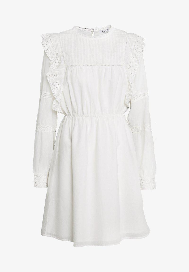NA-KD - LACE FRILL DRESS - Kjole - white