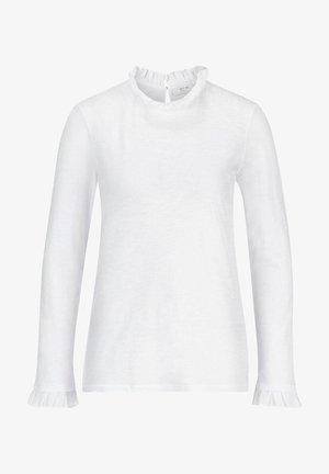 SLUB FRILL LONGSLEEVE - Long sleeved top - weiss