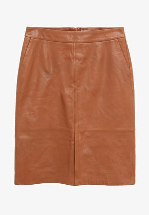 JAMIE - Leather skirt - mittelbraun