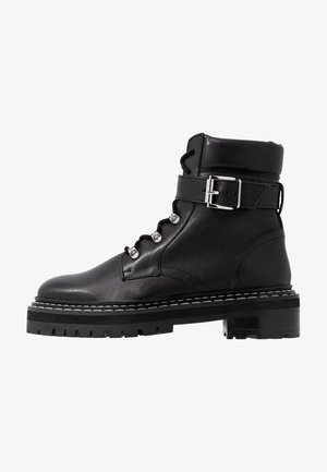 LEATHER LACEUP BOOTIE - Cowboy/biker ankle boot - black
