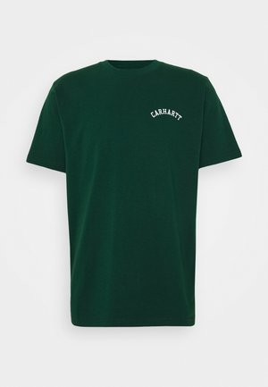 UNIVERSITY SCRIPT  - Basic T-shirt - bottle green / white