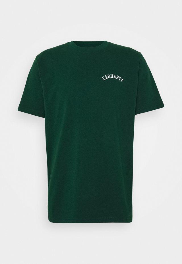 UNIVERSITY SCRIPT  - T-shirt basic - bottle green / white