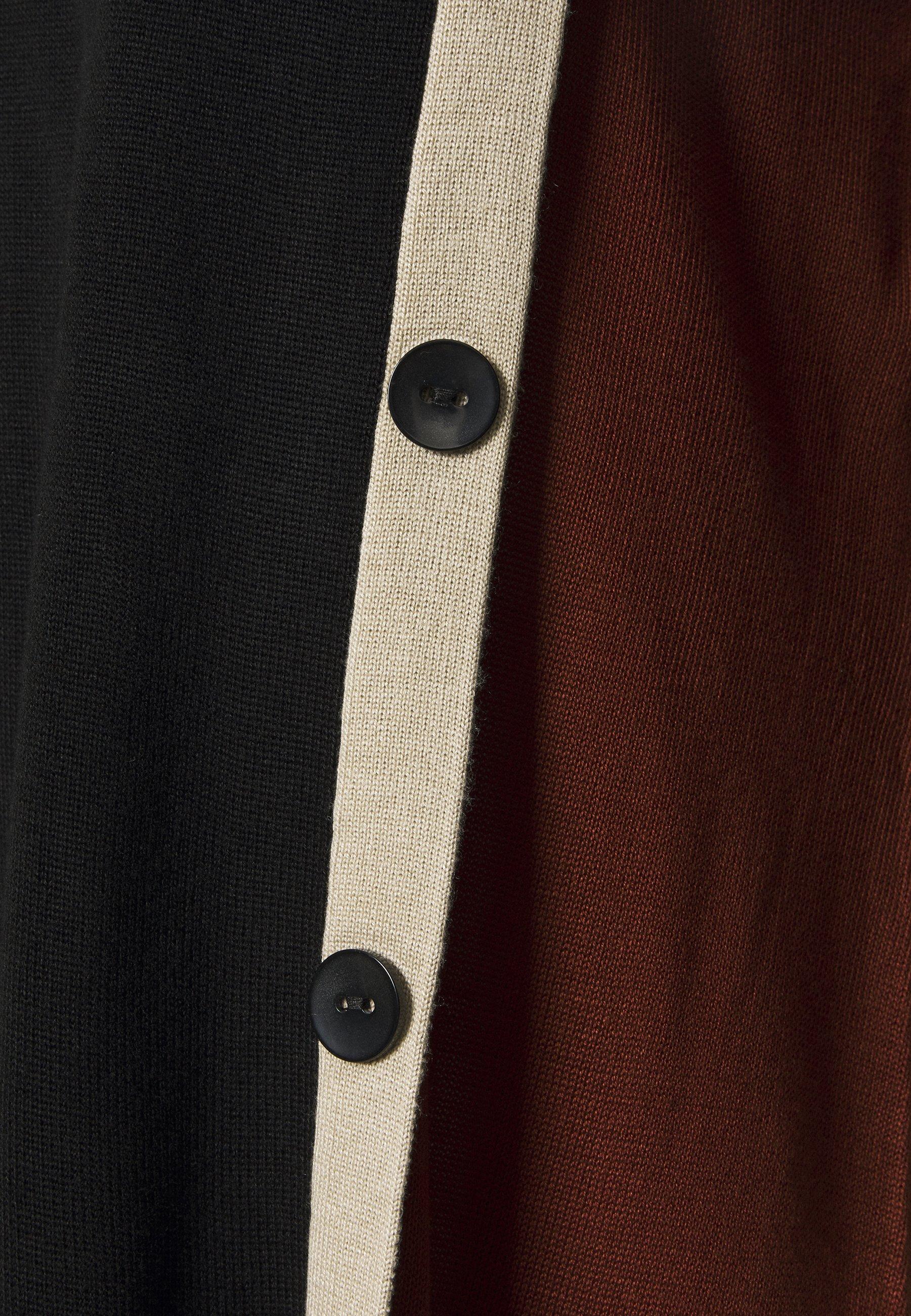 Evans Black Button Colour Block Jumper - Strikkegenser Black/svart