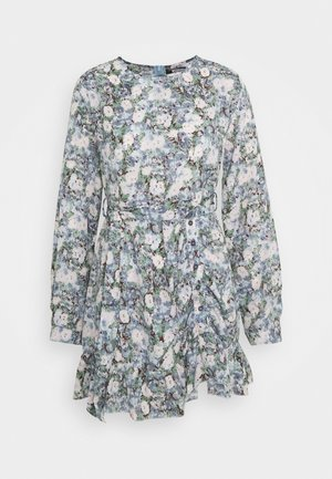 RUCHED SIDE DRESS FLORAL - Day dress - blue