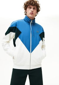 Lacoste - veste en sweat zippée - white/green/blue - 0