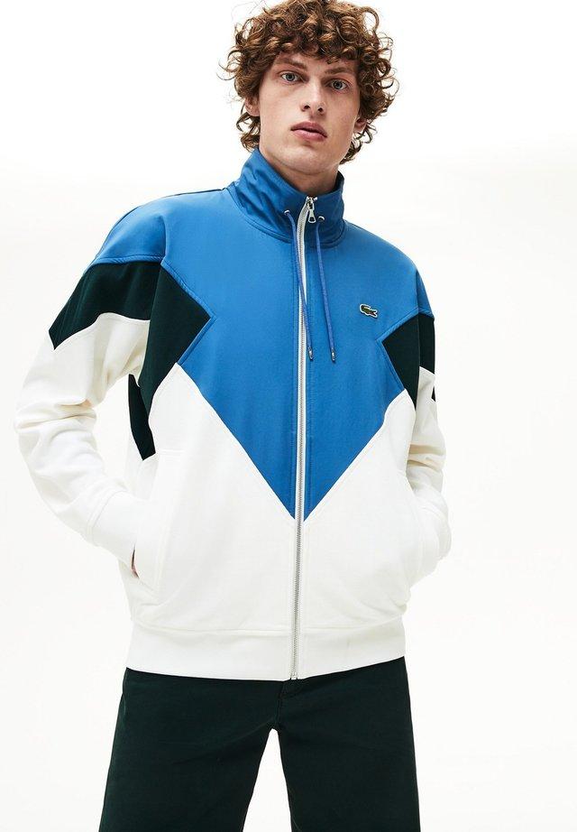 veste en sweat zippée - white/green/blue