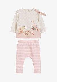 Next - WHITE/PINK BUNNY T-SHIRT, LEGGINGS AND HEADBAND SET (0MTHS-3YRS) - Leggings - Trousers - pink - 1