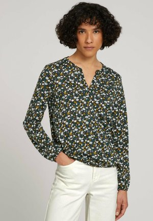 Blouse - green small floral design