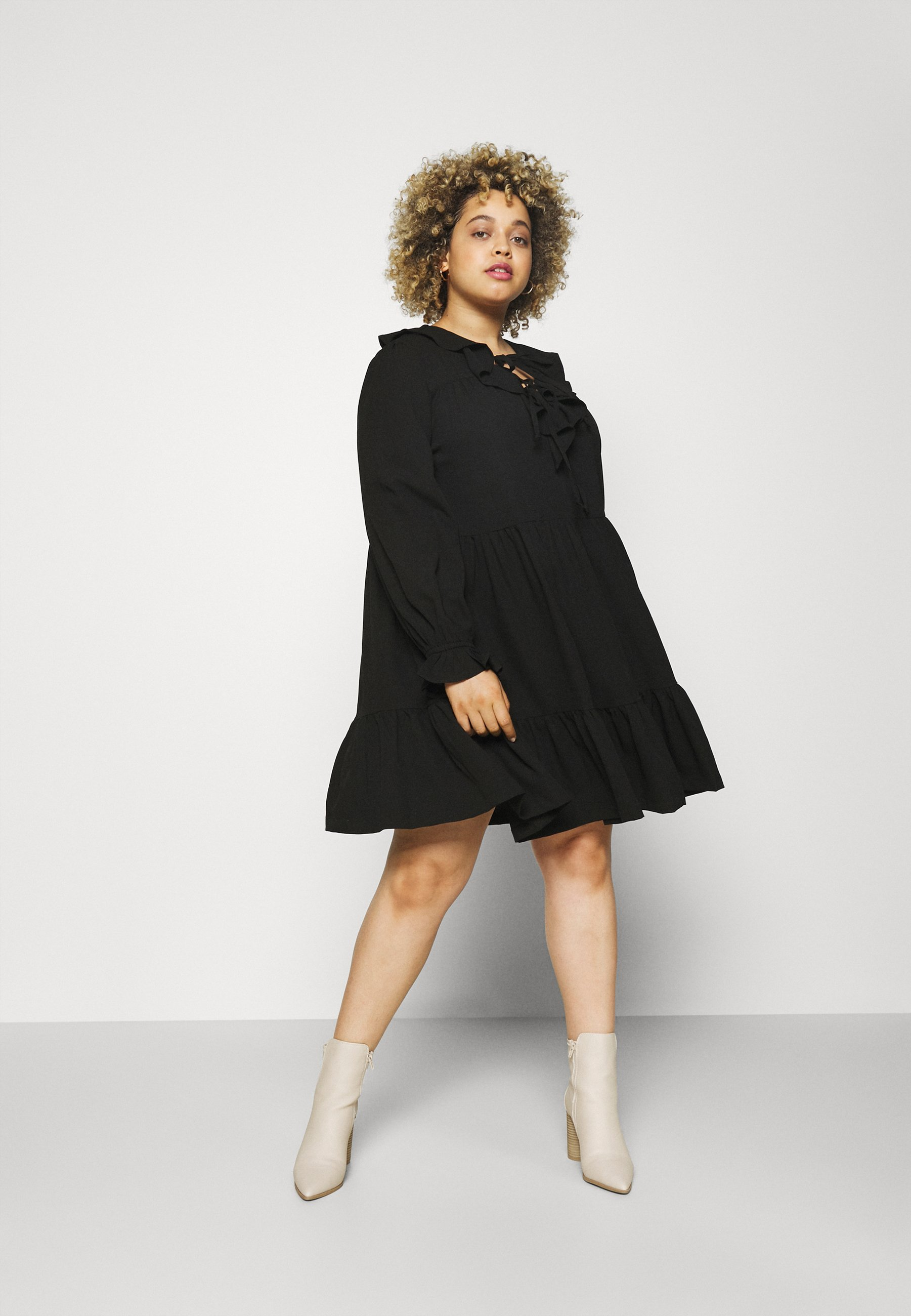 Women RUFFLE V NECK TIERED SMOCK DRESS - Day dress