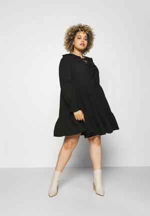 RUFFLE V NECK TIERED SMOCK DRESS - Day dress - black