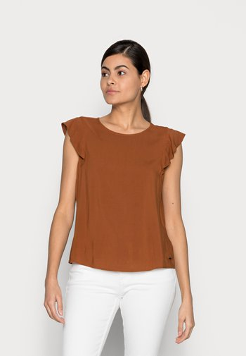 Print T-shirt - amber brown
