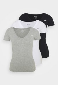 Hollister Co. - SLIM 3 PACK - Print T-shirt - white/grey/black - 0