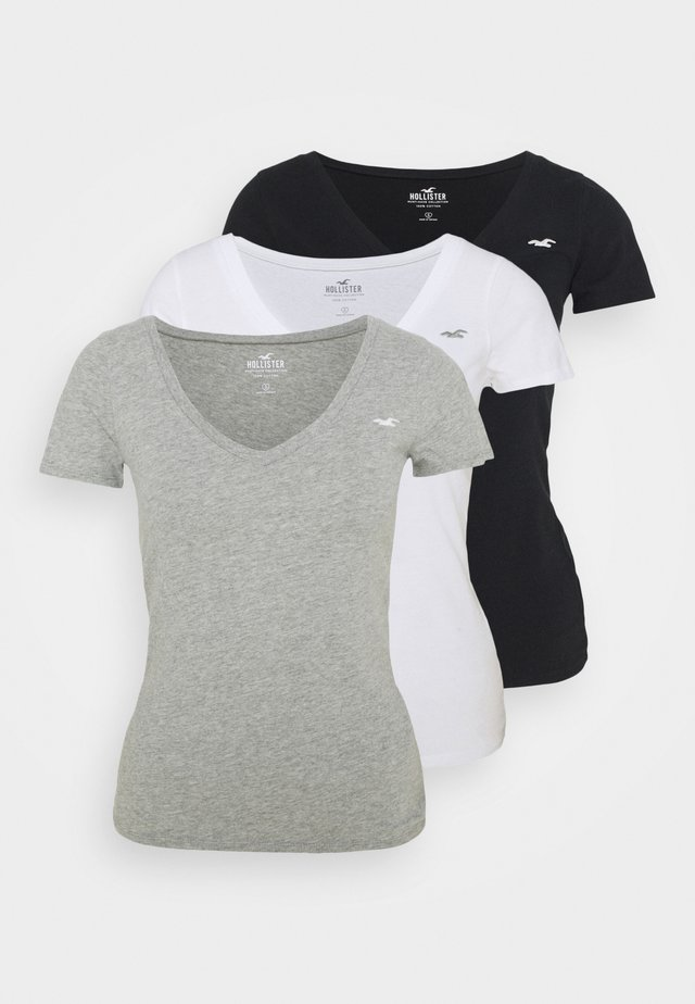 SLIM 3 PACK - Print T-shirt - white/grey/black
