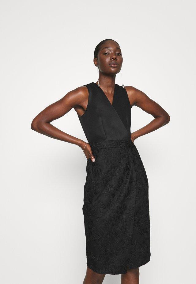 WRAP TOP PENCIL DRESS - Shift dress - black