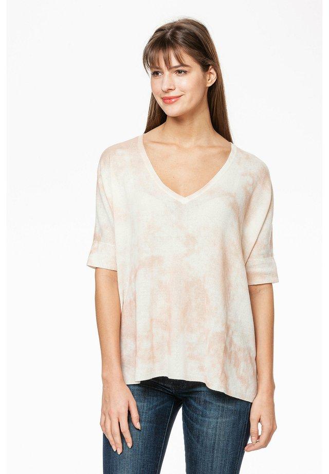 Print T-shirt - braun/weiß