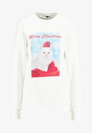 LADIES MERRY CHRISTMAS CAT CREWNECK - Mikina - white