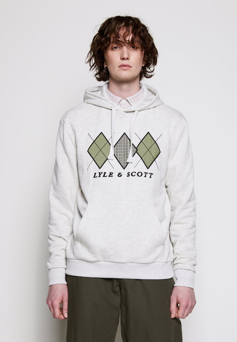Lyle & Scott - APPLIQUE HOODIE RELAXED FIT - Mikina skapucí - vanilla ice marl