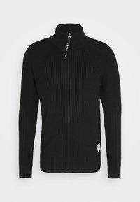 G-Star - 3D BIKER ZIP THRU KNIT L\S - Kofta - cotton tone fusion knit o - dk black - 4
