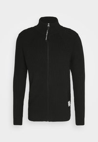 3D BIKER ZIP THRU KNIT L\S - Cardigan - cotton tone fusion knit o - dk black