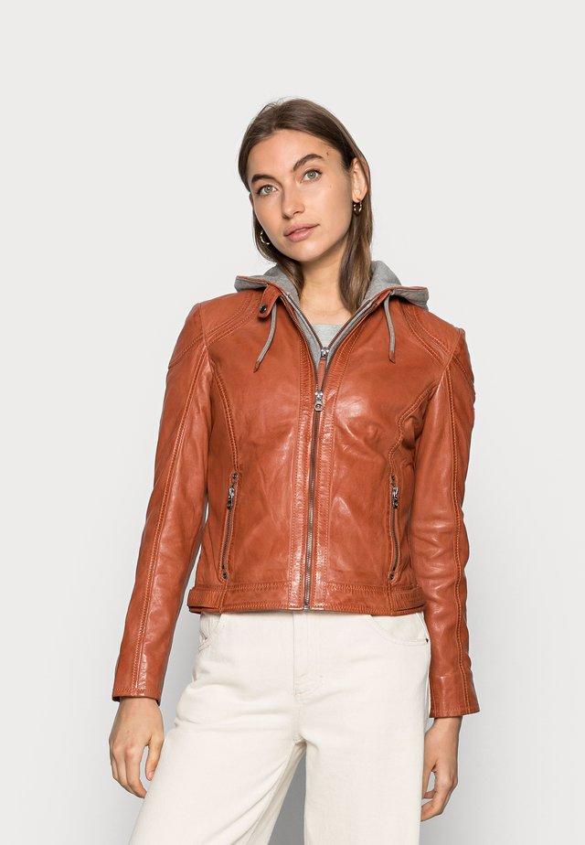 AMMY LACUV - Leather jacket - burned orange