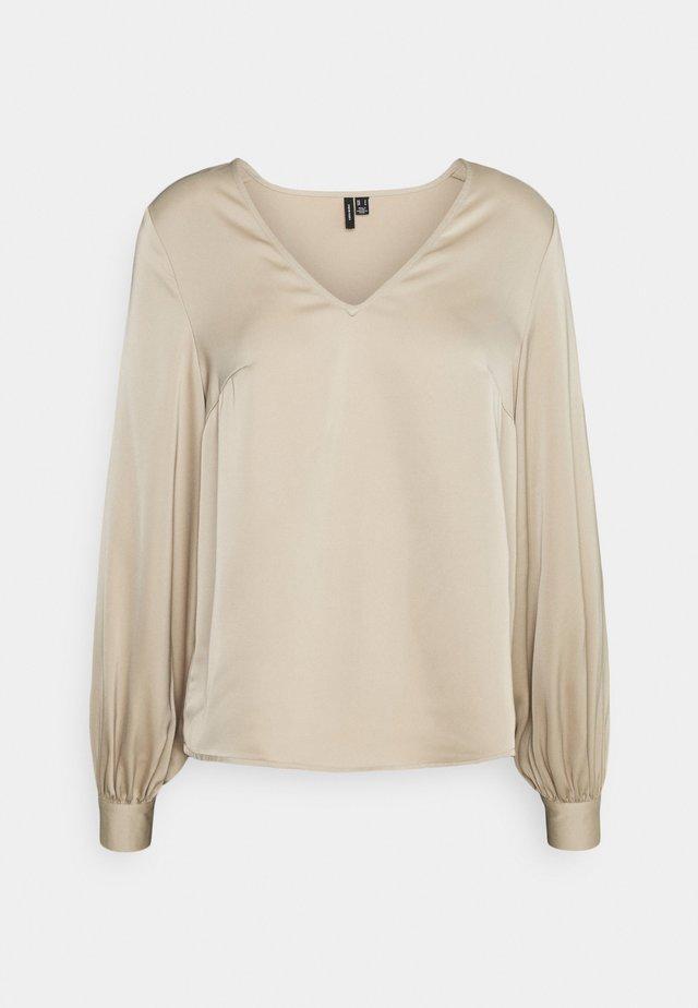 VMCOCO V NECK  - Long sleeved top - beige